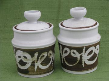 Retro 70s vintage stoneware pottery canister jars, kitchen counter canisters set