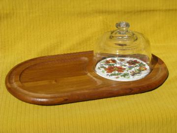 Retro 70s vintage teak wood fruit and cheese board, glass dome cover