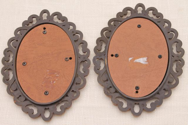 retro 70s vintage wall decor, Homco Burwood plastic bentwood frames w/ pair of small mirrors