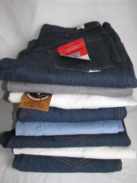 Retro 70s vintage western wear jeans & denim lot, original tags Levis Wrangler Big Smith