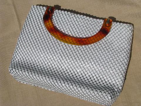 Retro 70s White Metal Mesh Purse Tortoise Plastic Handbag Handles
