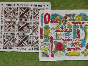 Retro 80s Hawaiian souvenir hankies, Hawaii tropical print cotton