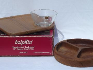 Retro 80s vintage Dolphin solid teak wood relish plate, chip & dip tray