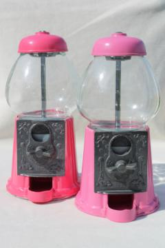 Retro 80s vintage gumball machines, coin-op candy dispensers so pretty in pink!
