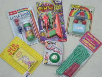 Retro 80s vintage toy lot, party games favors cheap toys on original cards