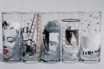 retro Hollywood tumblers Marilyn Monroe, James Dean movie star gilded age highball glasses