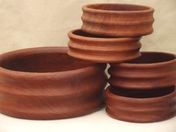 retro  Kalmar teak wood salad set, danish mod vintage chunky wood bowls