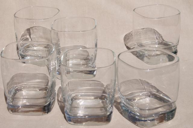 Retro Libbey Carrington Square Glass Tumblers, On The Rocks Double Old  Fashioned Glasses