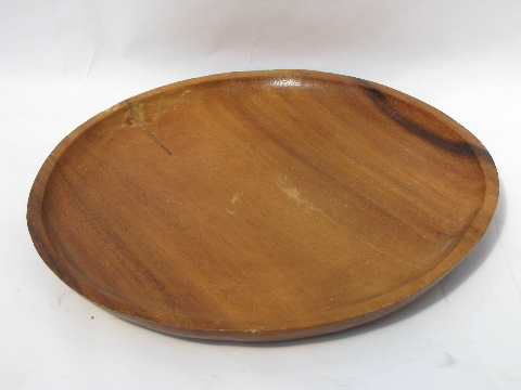 Retro Acacia Wood Tray Large Round Carved Wooden Serving