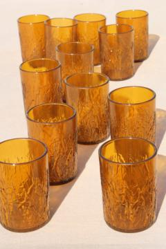 retro amber crinkle ice textured plastic restaurant drinking glasses, unbreakable tumblers