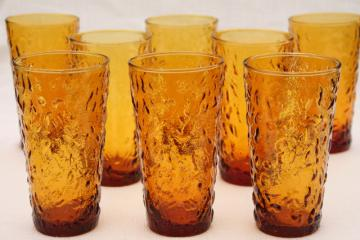 retro amber glass drinking glasses, vintage Anchor Hocking Milano desert gold tumblers