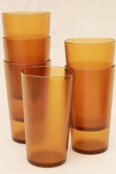 retro amber gold pebble textured plastic restaurant drinking glasses, unbreakable tumblers