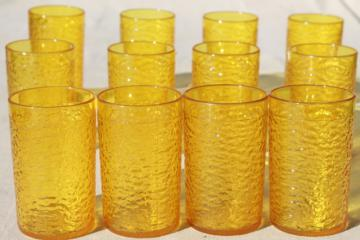 retro amber yellow crinkle ice textured plastic restaurant drinking glasses, unbreakable tumblers