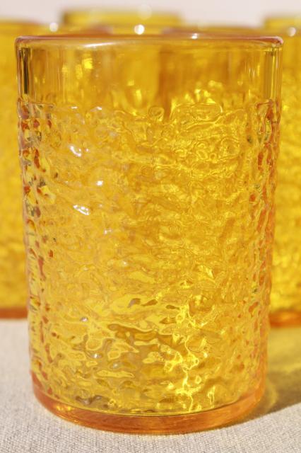 retro amber yellow crinkle ice textured plastic restaurant drinking glasses unbreakable tumblers