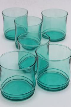 retro aqua green glass drinking glasses, mod vintage on the rocks old fashioned tumblers