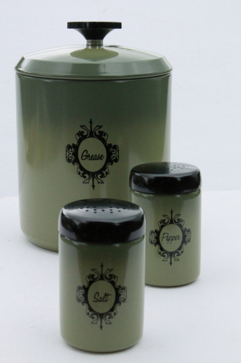 green canisters kitchen retro avocado green metal kitchen range set grease 11953