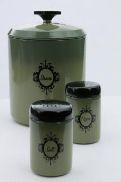 Retro avocado green metal kitchen range set, grease canister jar, S&P shaker tins
