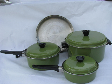 Retro Avocado Green Pots Pans 60s Vintage Stainless Steel
