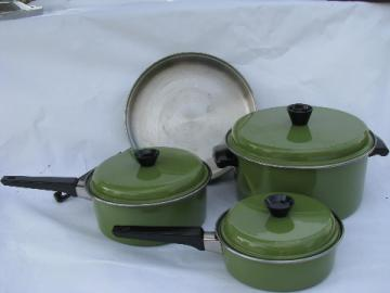 Retro avocado green pots & pans, 60s vintage stainless steel cookware, Japan