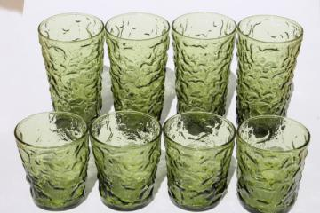 retro avocado green textured glass drinking glasses, Lido Milano low-balls & high-ball tumblers
