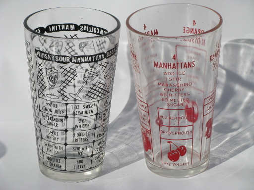 Superb Retro Barware Cocktail Shaker Recipe Measures, Drinks Mixing Glass Lot