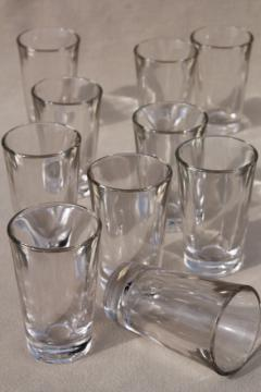 retro barware set of 10 vintage clear glass shot glasses, heavy weighted bottom shots