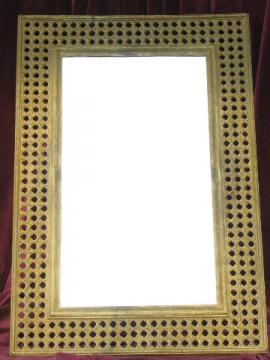Retro beach house wall mirror, 70s vintage Dart plastic rattan frame