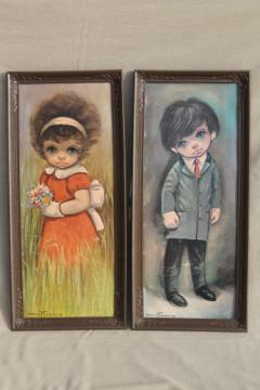 Retro big eyed children Ozz Franca prints, 60s vintage big eye kitsch wall art
