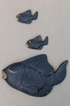 Retro black & gold chalkware fish wall plaques, vintage bathroom decor