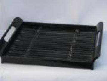 Retro black lacquer bamboo serving tray for tiki bar drinks or sushi