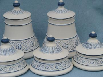Retro blue morocco matte white Haeger pottery canister set, 60s mod
