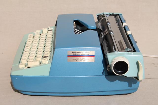 retro blue typewriter for photo prop/repair, Smith Corona Coronet 12 Automatic