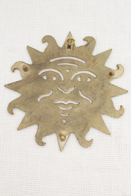 retro bohemian hippie sun polished brass wall plaque hanging trivet, 80s vintage
