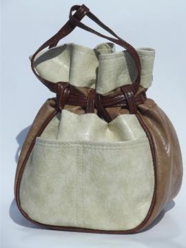 Retro boho drawstring pouch handbag, 70s vintage purse in brown & cream
