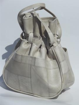 Retro boho drawstring pouch handbag, 70s vintage purse natural patchwork