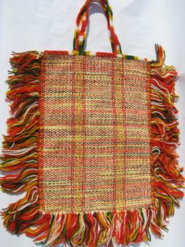 Retro boho hippie vintage fringed woven yarn crochet shopping bag tote
