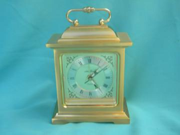 Retro brass Seth Thomas mantel carriage clock w/alarm Japan