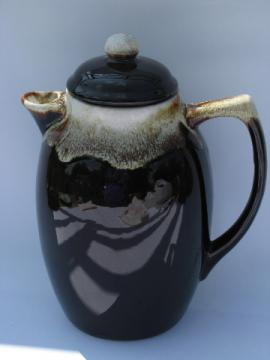 Retro brown drip glaze coffee pot, vintage USA pottery