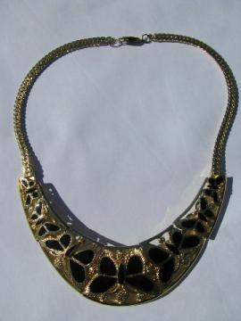 Retro butterflies, 70s vintage choker collar necklace, mod gold tone & black