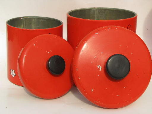 Retro butterflies ransburg kitchen canisters 60s vintage for 60s kitchen set