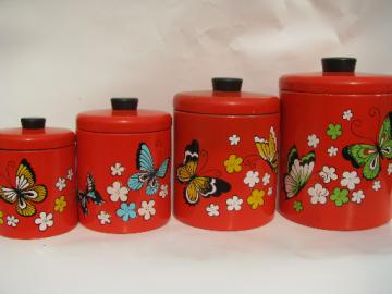 Retro butterflies Ransburg kitchen canisters, 60s vintage metal tole
