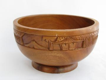 Retro carved acacia wood bowl, water buffalo & native village