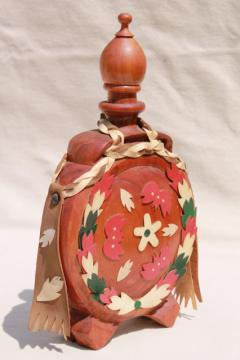 retro carved wood canteen bottle, vintage decanter flask decorated w/ colored leather