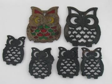 Retro cast iron kitchen trivets wall plaques, 70s vintage lot, all owls!