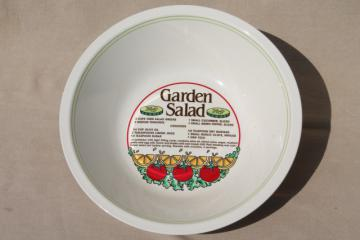 Retro ceramic salad bowl w/ printed recipe for Garden Salad & vinaigrette dressing