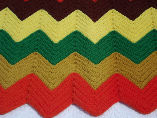 Retro chevron stripes  crochet afghan blanket, vintage harvest colors