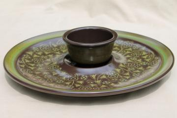 retro chip & dip set, large tray & bowl in mod 60s 70s vintage Madeira Franciscan pottery