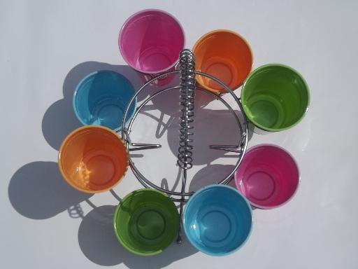 Retro chrome carrier rack, party drinking glasses holder ...