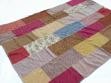 Retro color block  bedspread, vintage upholstery fabric patchwork bed cover