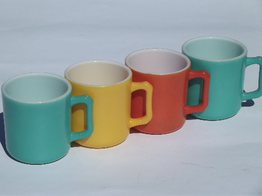 Retro Colors Kitchen Gl Coffee Cups Vintage Fired On Color
